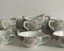 Vintage Sango Cups Fantasia Teacups Set of 13 Fine China Platinum Rimmed