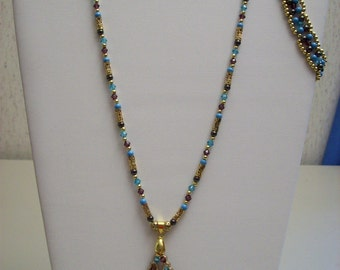 Purple, Teal, and Gold Seed Bead Set