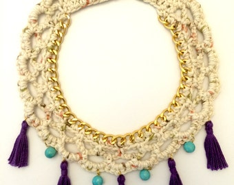 Anncestral Woven Necklace -Crochet Necklace-