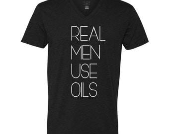 REAL MEN Use OILS comfy vneck black and white tshirt