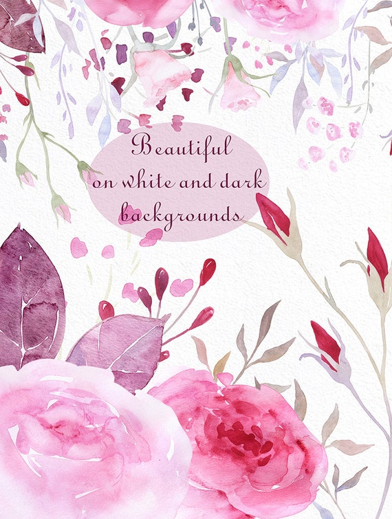 Romantic Roses Watercolor flowers clipart Commercial use
