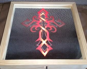 Red Led Celtic Cross Light