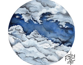 PRINT / Orginal Clouds Watercolor Cloud Illustration Sky Painting (#4)