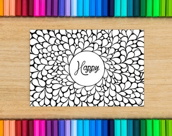 Postcard coloring - happy - coloring for adults