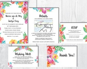 Tropical Island Wedding Invitation set
