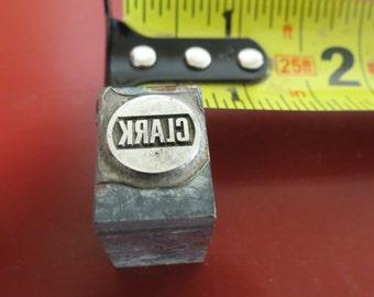 Vintage Zinc/Lead printing block- letterpress- Clark logo
