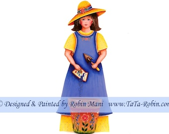 183 Garden Girl Planting Seeds Decorative Painting Pattern