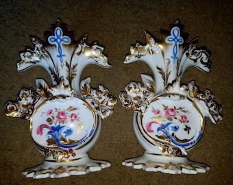 Pair of Vintage Hand-Painted Gold Trim Milkglass Vases