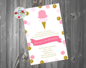 Ice cream party invitation pink and gold