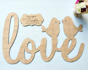 Love Birds guest book puzzle, wedding guest book puzzle, wooden, guest book alternative, puzzle guest book, jigsaw guest book, wood puzzle