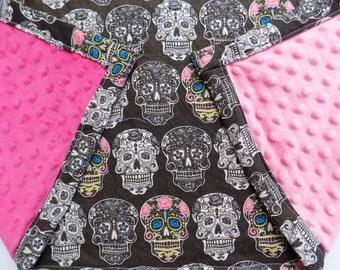 Sugar Skull Pink Minky blanket