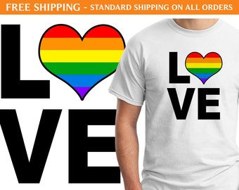 Love Gay Pride Heart Shirt - Free Shipping, LGBTQ Shirt, Gay Pride Shirt, Rainbow Shirt, Love Shirt, Rainbow Heart Shirt, Festival Shirt