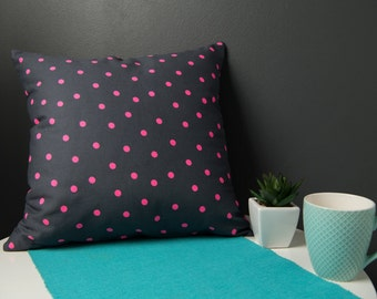 Cushion Cover - Grey Cotton with fluro pink dot print