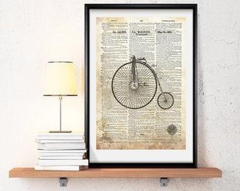 Vintage bicycle  -Neo retro, Dictionary paper, elegant-