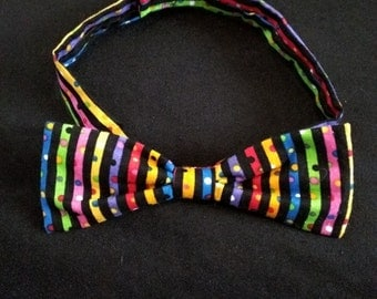 Rainbow Striped Bow tie