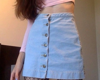 Denim High Waisted Mini Skirt
