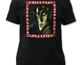 Nosferatu Symphony of Horror Print Men's Fitted Cotton Shirt - IMP95(Black)