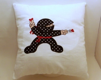 Embroidered Applique Ninja Karate Red Belt Child's Decorative Accent Pillow