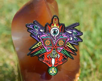 Majora's Mask with Yellow Triforce hat pin