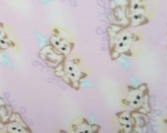 Angel Kitty Fleece Fabric by the Yard