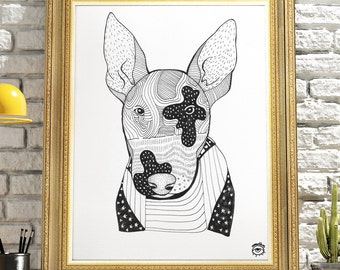 Bull Terrier Dog A4 A5 illustration, print, art, dog print, dog drawing, bull terrier illustration, bull terrier drawing