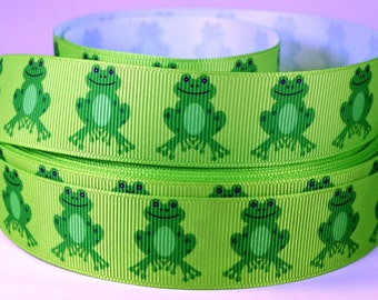 "1"" Frog Ribbon -Frog Grosgrain -  Happy Frogs - Printed Grosgrain Ribbon."