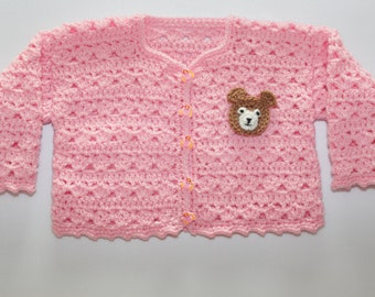 Baby jacket pink with bear head