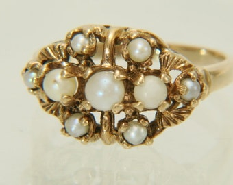 Cultured Pearl Seed Pearl Vintage 10K Yellow Gold Ring Size 6 FREE SHIPPING