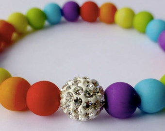Colourful Rainbow Bracelet Pave Crystal Disco Gay Pride LGBT