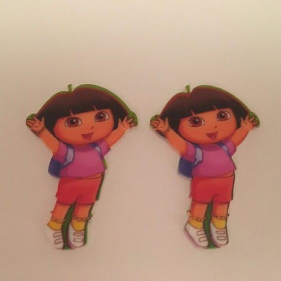 Reduced 2 Dora Explorer Cartoon Character Planar Resin. Flatback cabochon hairbow centre embellishments laser cut shrinky dink topper brooch