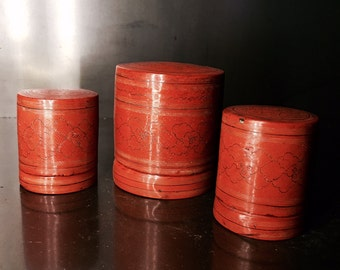 Japanese paper mache tea caddy set containers