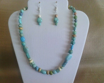 254 Blue, Green,White and Lavender Colored Magnesite Turquoise Beads Beaded Choker