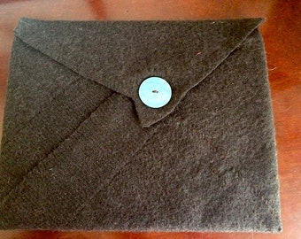 Felted Wool Clutch with vintage button detail