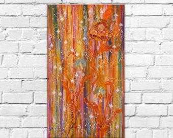 Intuitive painting Orange Flowers Acrylic painting 70х40 cm Wall art