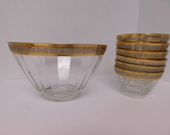 Mid-Century Modern Vintage glass Salad/Fruit bowl w/ 6 small bowls