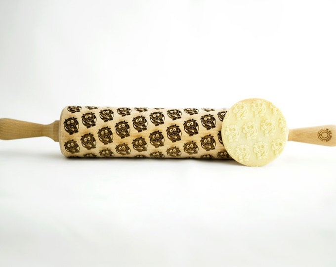 COWS rolling pin, embossing rolling pin, engraved rolling pin for a gift, flowers, KIDS, gift ideas, gifts, unique, autumn, wedding