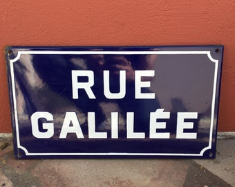 Old French Street Enameled Sign Plaque - vintage galilee 2