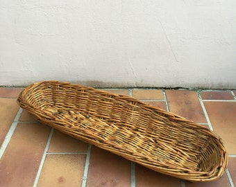 "Vintage LARGE French Wicker BAGUETTE BREAD Basket 25"" l"