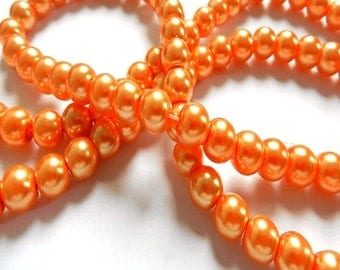 50 glass beads - 8 mm - orange / C1-0295