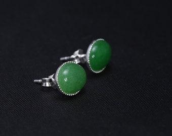Sterling silver ear studs with Aventurine gemstones