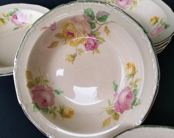 Edwin M. Knowles China Co.~ Dessert Bowls~Set of six ~Pink with Roses~Platinum Trim~Shabby Chic