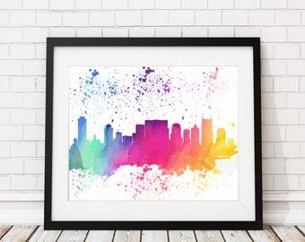 Nashville Skyline Watercolor Print - Cityscape Print Nashville Watercolor Art Nashville Skyline Painting Watercolor Painting Silhouette Art