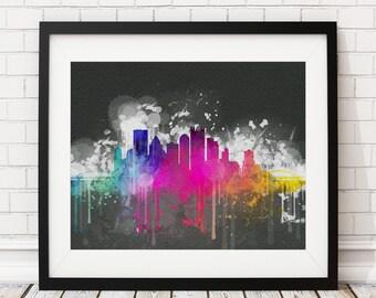 Pittsburgh Skyline Print, Pittsburgh Art, Pittsburgh Print, Watercolor Art, Watercolor Painting, Pittsburgh Wall Art, Pittsburgh Poster,