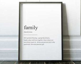 Family Definition Print Wall Art Prints Quote Print Wall Decor Minimalist Poster Print Modern Art Family Art Scandinavian Print Wall Prints