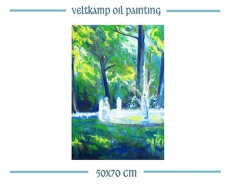 landscape painting fountain in park, original oil painting, hand-painted expressionist painting