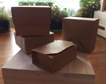 OrigamiDreamz - embossed brown paper boxes in 4 styles