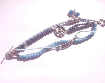 Meli melo bracelet peace blue - meli melo blue wristband peace
