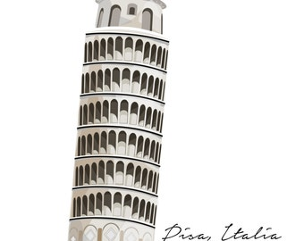 Print of Leaning Tower of Pisa