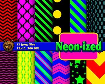 neon digital paper, digital download, instant download, background, scrapbook, paper