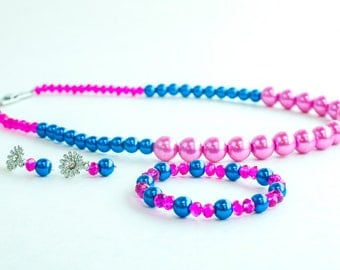 Pink and blue pearl and crystal bead set